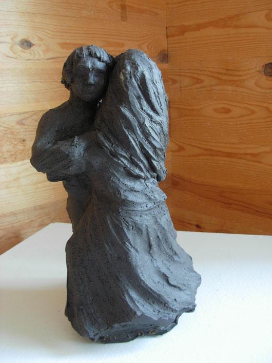 Polskedans - Skulptur i svartbrännande lera av Bojan Krogh